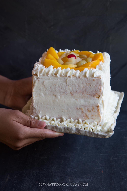 Chinese Bakery-Style Fruit Sponge Cake