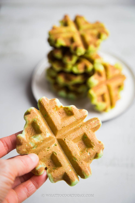 Easy Gluten-Free Eggless Mochi Waffles (Pandan Flavor)