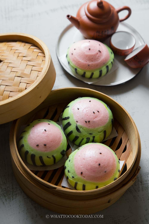 Soft Fluffy Watermelon Mantou (Steamed Buns/Baozi)
