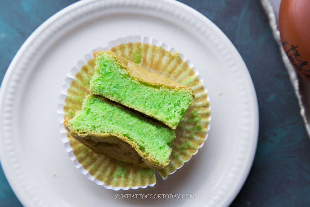 Pandan Mochi Sponge Cupcakes (Gluten-Free, Dairy-Free)